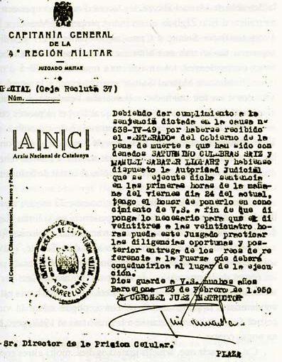 Assassinat de Manel Sabaté Llopart i Saturnino Culebras Saiz, Camp de la Bota (24/02/1950)